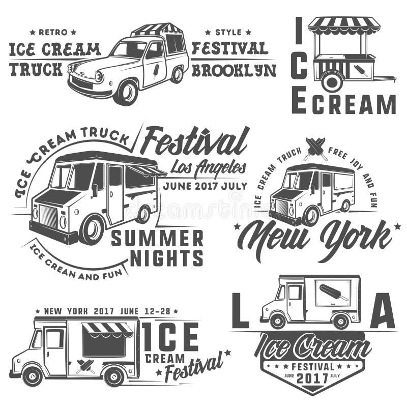 Van het voedselvrachtwagen en roomijs emblemen, kentekens en ontwerpelementen stock illustratie