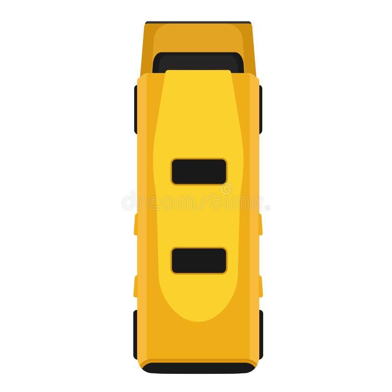 Van het het voertuigvervoer van het bus de gele vector vlakke pictogram hoogste geïsoleerde mening De auto van het beeldverhaalre vector illustratie