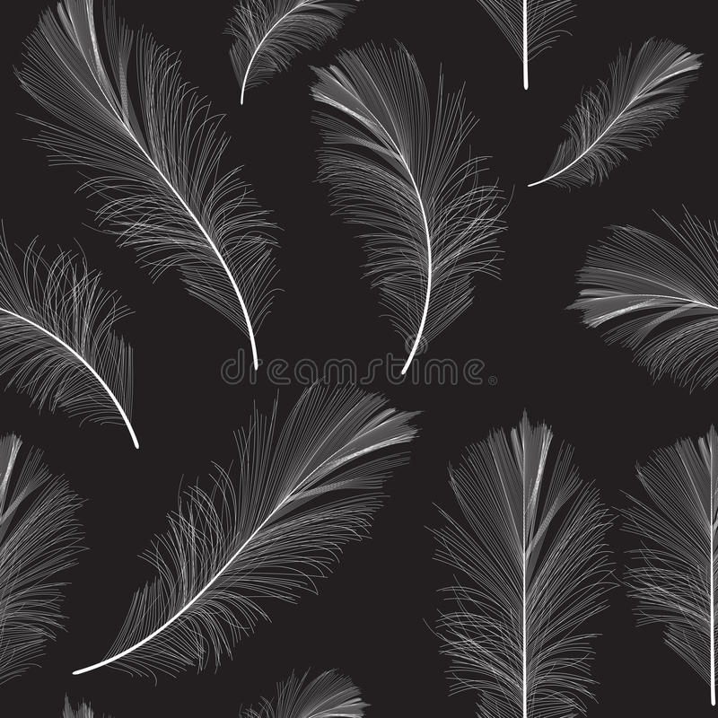 Van het Vogelveerhand Getrokken Naadloze Patroon Vector Als achtergrond vector illustratie