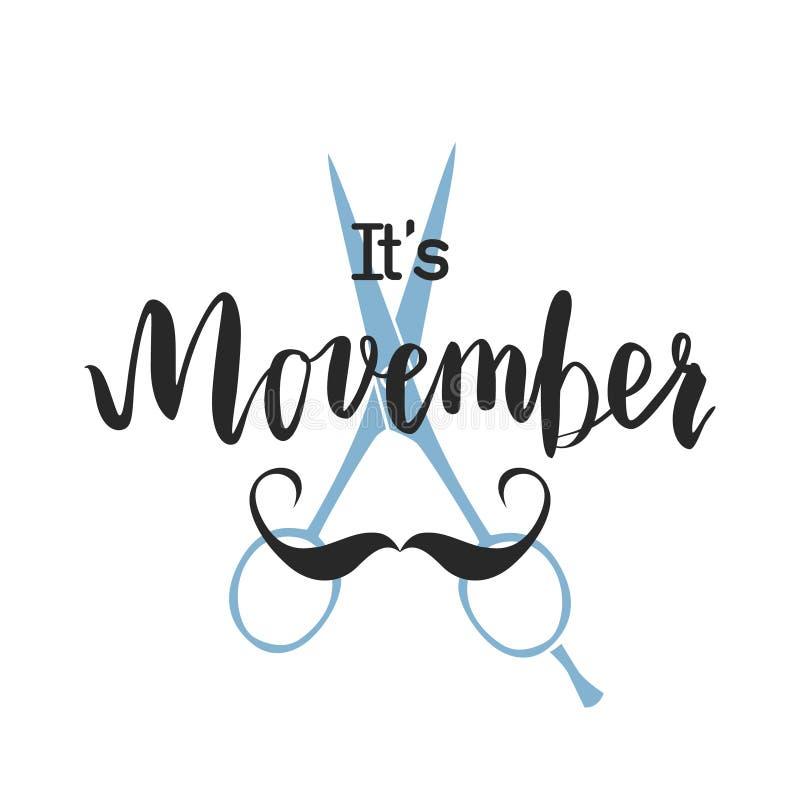 Van het het voorlichtingsevenement van Movemberkanker de afficheontwerp royalty-vrije illustratie
