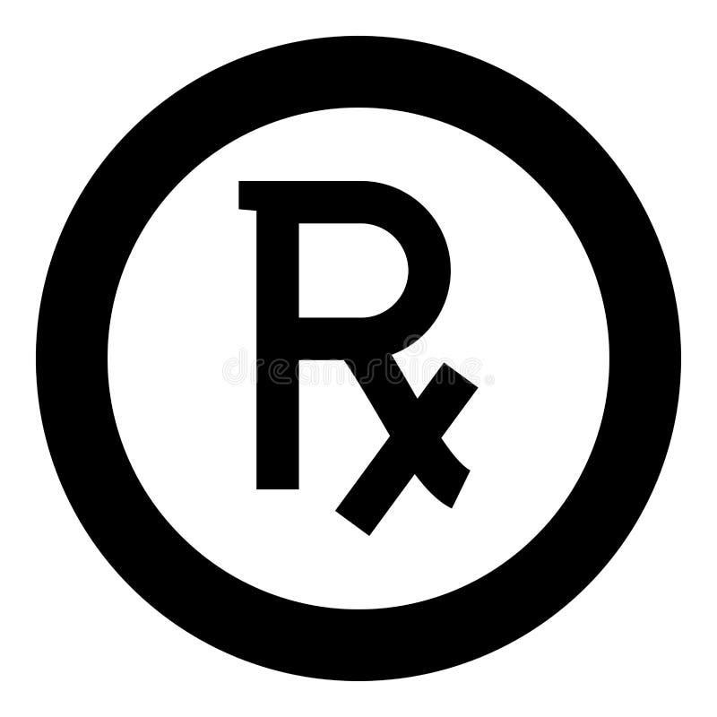 Van het het voorschriftpictogram van het Rxsymbool de zwarte kleur in cirkelronde vector illustratie