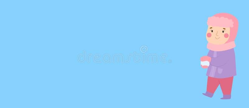Van het het Webformaat van de Kerstmis vectorbanner horizontale van de het spelsneeuwbal van het het spelkind van het de jongensj stock illustratie