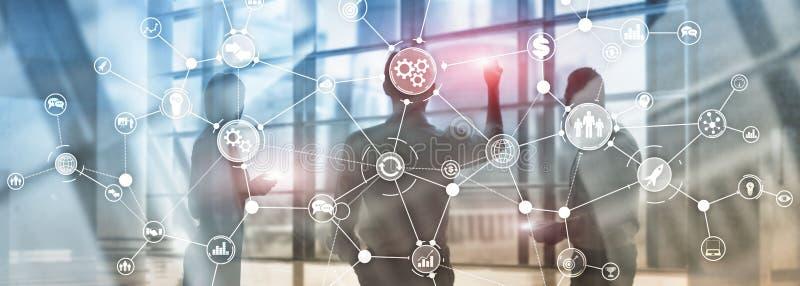 Van het het werkschemadiagram van de bedrijfsprocesstructuur mengde het industri?le concept van de de automatiseringsinnovatie op stock afbeelding