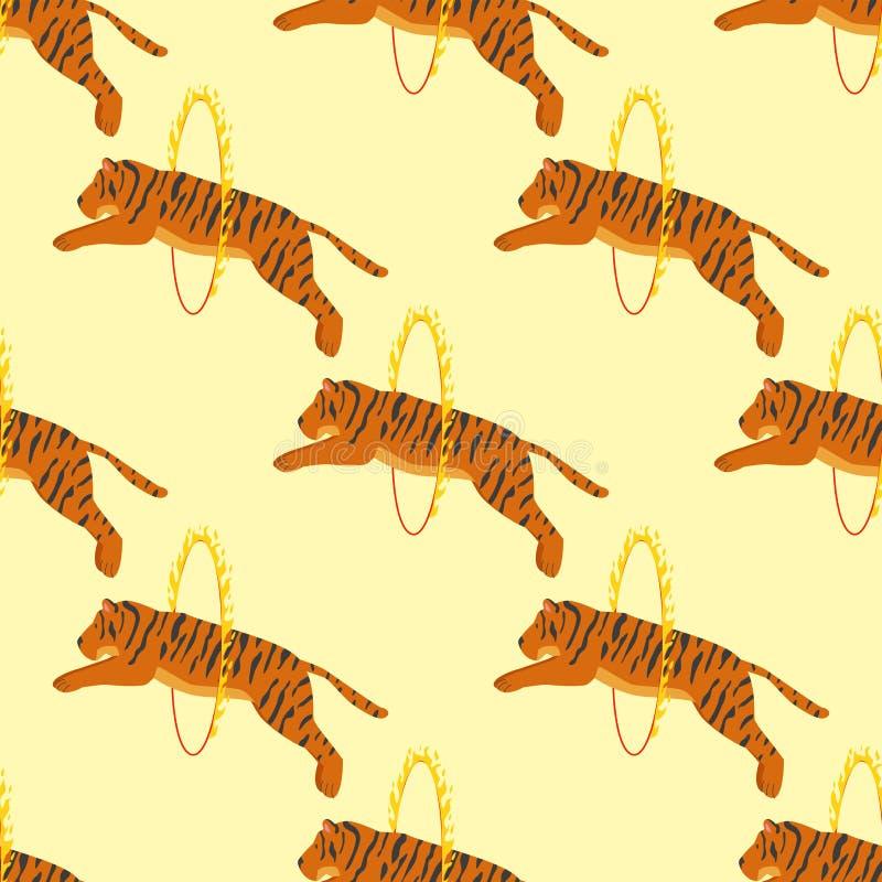 Van het het wild dierlijke gevaar van de tijgeractie van het het circus naadloze patroon van het het zoogdierbont onbetrouwbare h vector illustratie