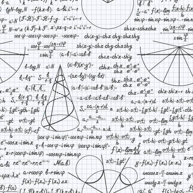 Van het wiskunde vector naadloos patroon notitieboekje als achtergrond royalty-vrije illustratie