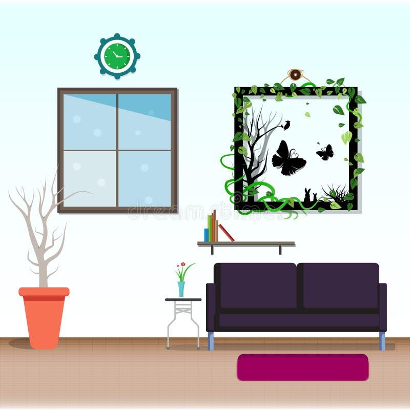 Van het woonkamer binnenlandse vlakke ontwerp abstracte vectorillu als achtergrond royalty-vrije illustratie