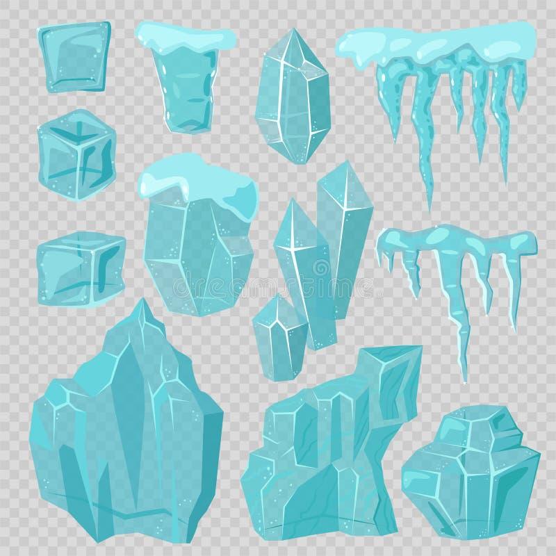 Van ijskappensneeuwbanken en ijskegels elementen vectorreeks royalty-vrije illustratie