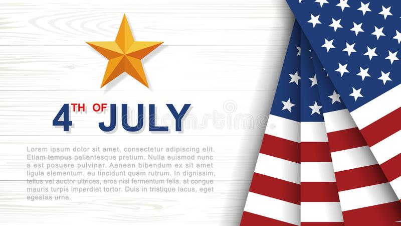 4 van Juli - Achtergrond voor USAUnited-Staten van de Onafhankelijkheidsdag van Amerika stock illustratie