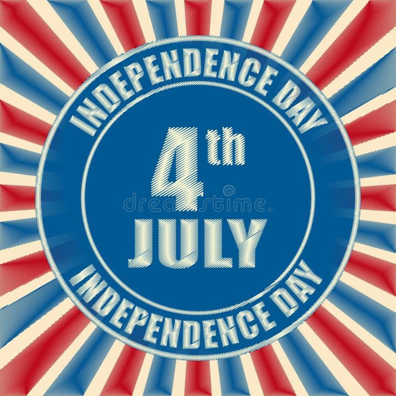 4 van Juli - Amerikaanse Onafhankelijkheidsdag - retro kenteken stock illustratie