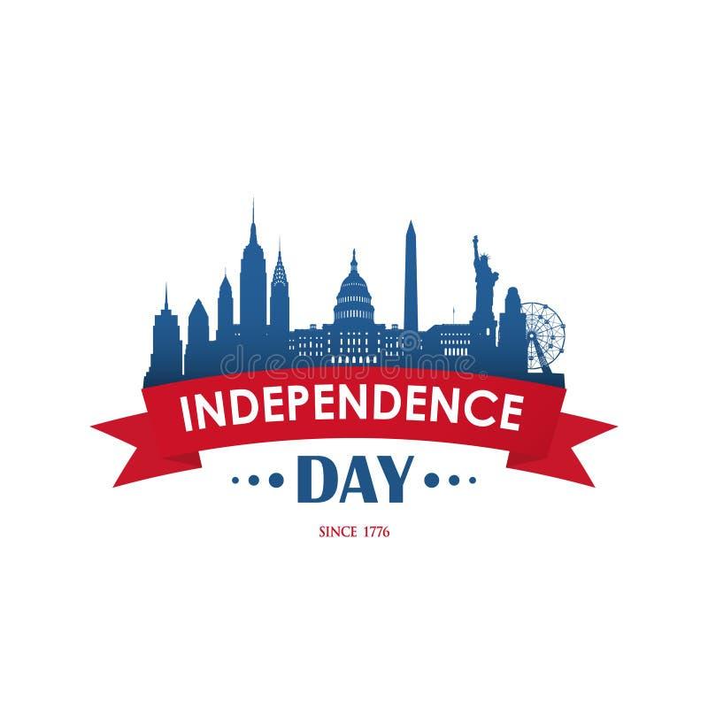 4 van Juli De Amerikaanse Dag van de nationale feestdagonafhankelijkheid Lintbanner stock illustratie