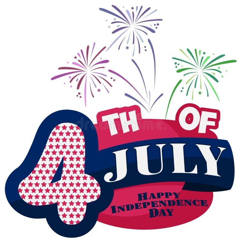 4 van Juli De gelukkige Dag van de Onafhankelijkheid De V.S. De Verenigde Staten van Amerika Amerikaanse vakantie Vierde van Juli vector illustratie