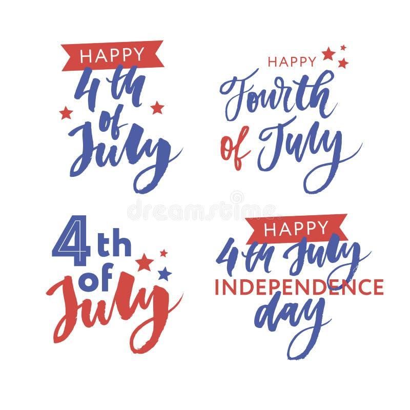 4 van Juli De gelukkige kalligrafie van de Onafhankelijkheidsdag stock foto's