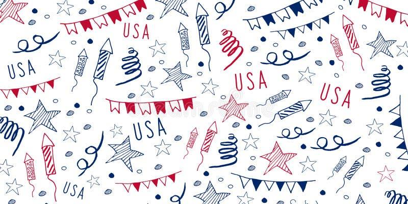 4 van Juli Van de de Onafhankelijkheidsdag van de V.S. de Vieringsbanner De hand trekt krabbelpatroon Vector illustratie royalty-vrije illustratie