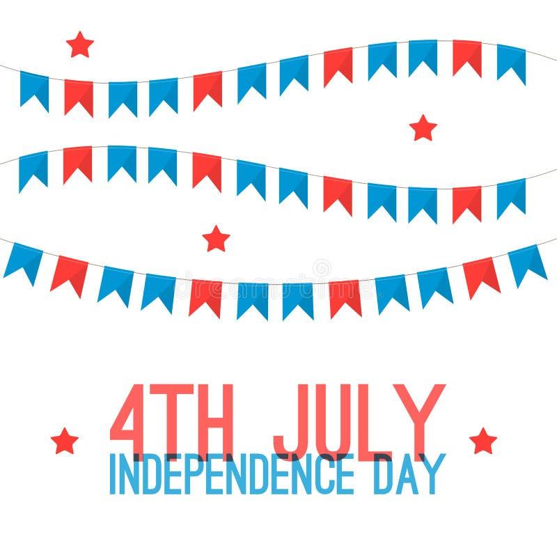 4 van juli - Onafhankelijkheidsdag in de groetkaart van de Verenigde Staten van Amerika De Amerikaanse nationale illustratie van  royalty-vrije illustratie