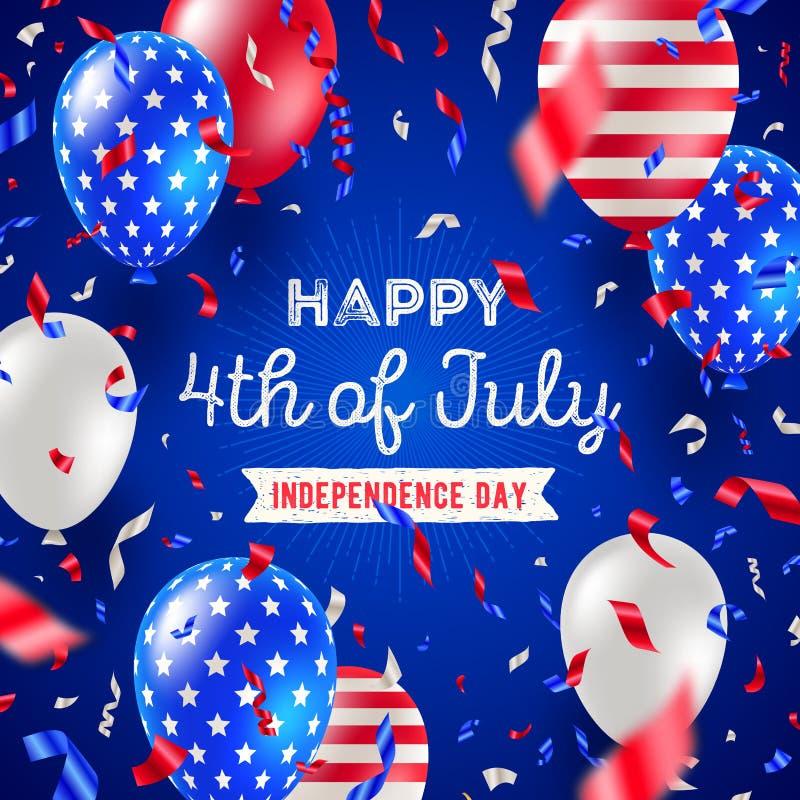 4 van Juli, Onafhankelijkheidsdag - het ontwerp van de groetkaart De kleurenballons en confettien van de V.S. patriottische stock illustratie