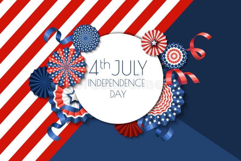 4 van Juli, van de de Onafhankelijkheidsdag van de V.S. de bannermalplaatje De kleurenachtergrond met document sterren in de V.S. vector illustratie