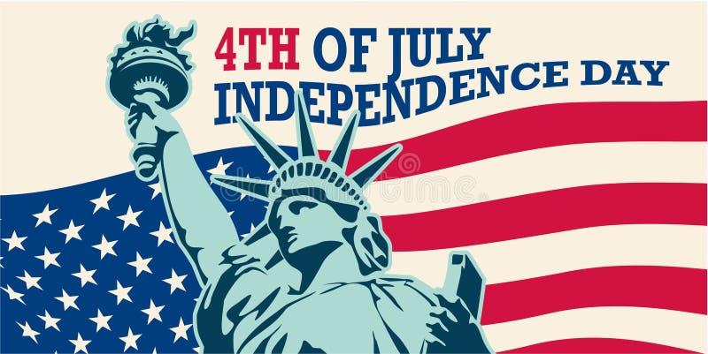 4 van Juli, Verenigde Verklaarde onafhankelijkheidsdag De V.S. Standbeeld van Vrijheid & de Zonsondergang van de Stad van New Yor stock illustratie