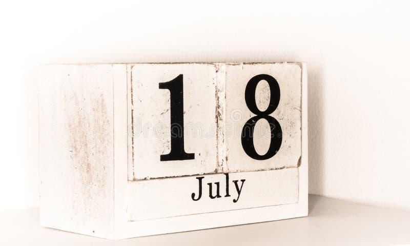 18 van Juli - zomermaandenkalender royalty-vrije stock fotografie