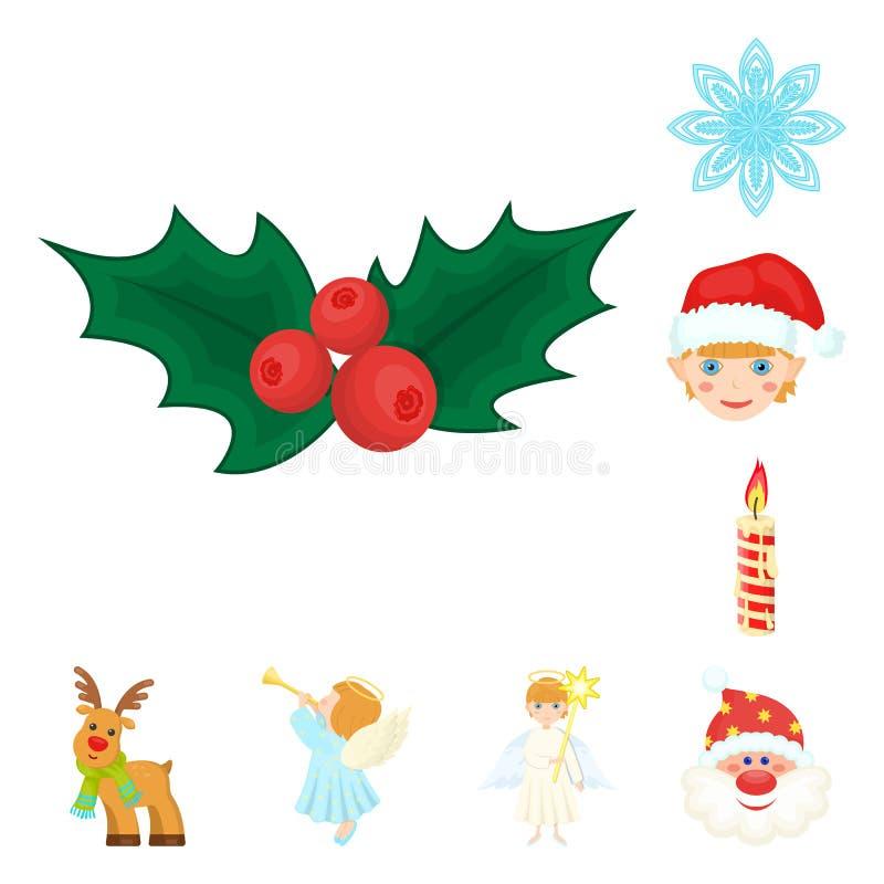 Van Kerstmisattributen en toebehoren beeldverhaalpictogrammen in vastgestelde inzameling voor ontwerp Vrolijk de voorraadweb van  royalty-vrije illustratie