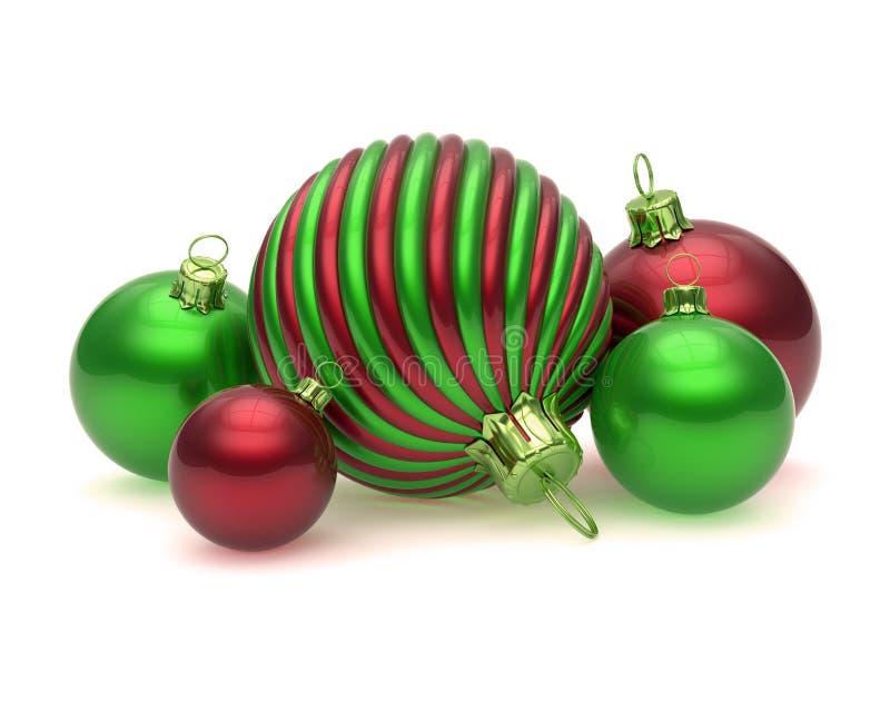 Van Kerstmisballen van de Kerstmisdecoratie de groene rode overladen snuisterijen stock illustratie
