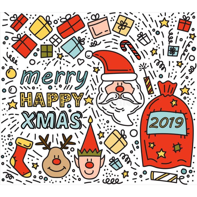 Van Kerstmisgiften van Santa Claus van de krabbeltekening de hertenelf van Rudolph vector illustratie
