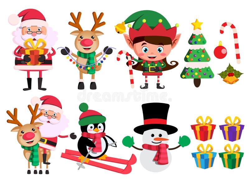 Van Kerstmiskarakters en elementen de vector plaatste met de Kerstman, rendier, elf en sneeuwman royalty-vrije illustratie