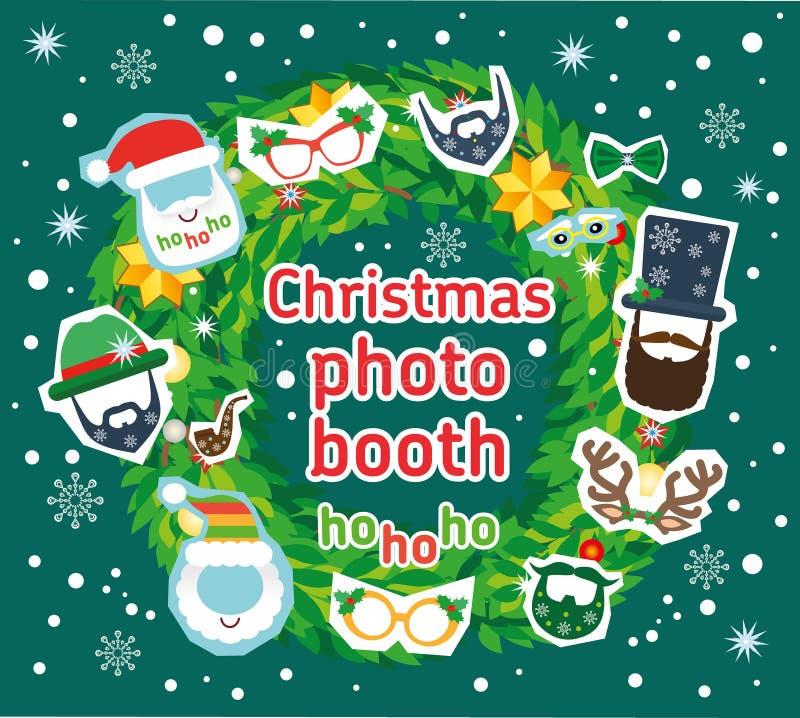 Van Kerstmiskerstman en herten de de vectorsteunen en decoratie van de fotocabine stock illustratie