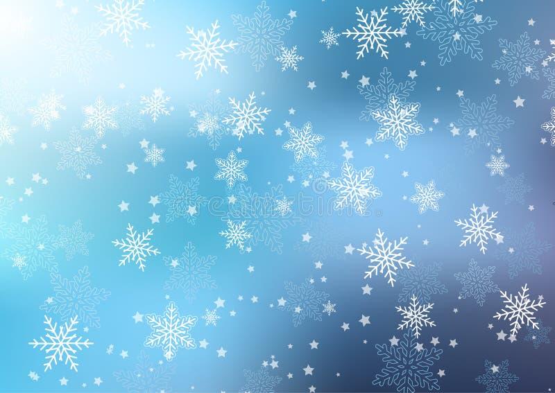 Van Kerstmissneeuwvlokken en sterren achtergrond royalty-vrije illustratie