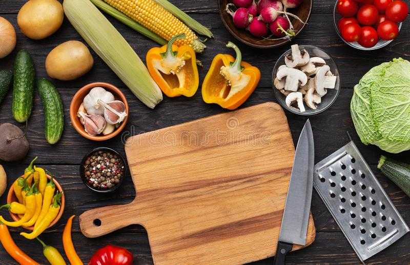 Van keukenlevering en groenten assortiments hoogste mening royalty-vrije stock fotografie
