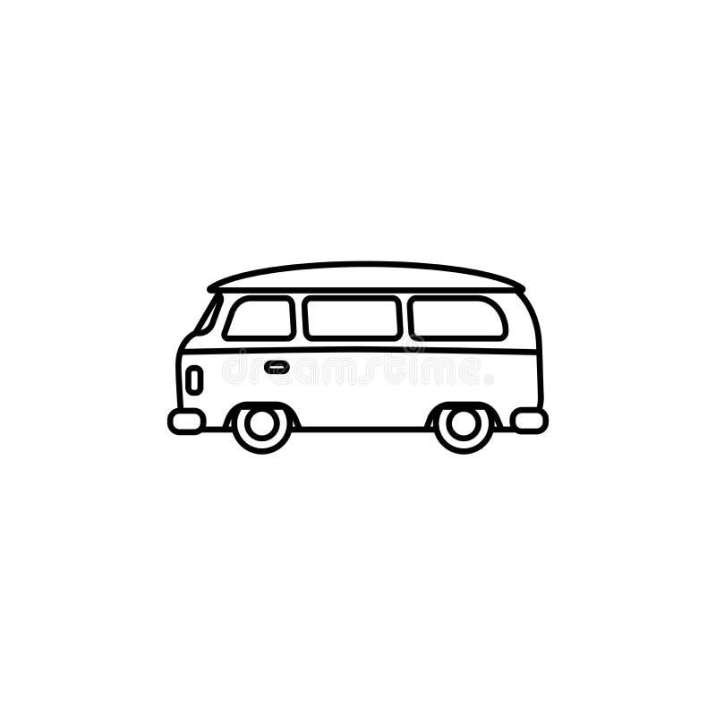 Van konturu sylwetka Minibusa wektoru linii ikona odizolowywająca na białym tle Hipisa retro samochód royalty ilustracja