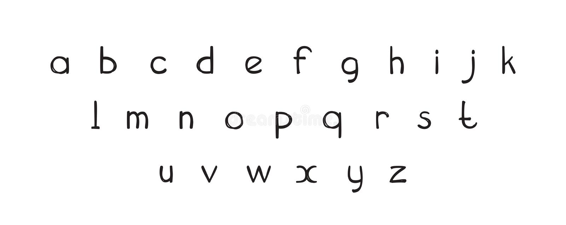 Van letters voorzien van doopvont het decoratieve hand getrokken ABC, alfabetbrieven Met de hand geschreven Typografisch Ontwerp  vector illustratie