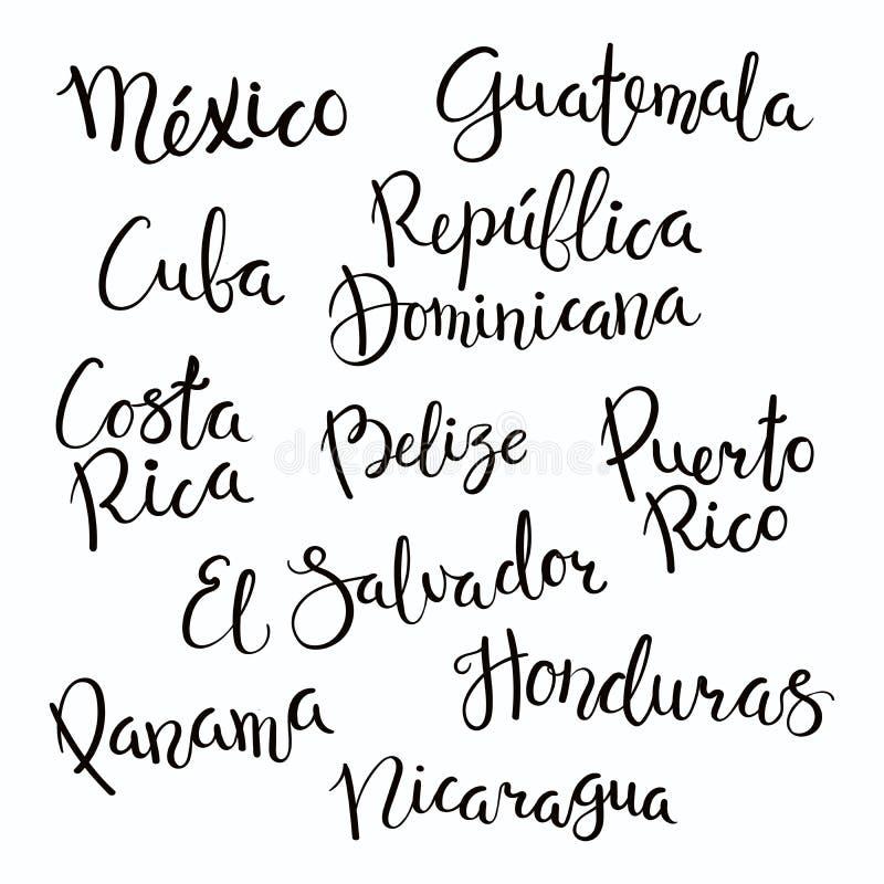 Van letters voorzien het van Centraal-Amerika van landen royalty-vrije illustratie