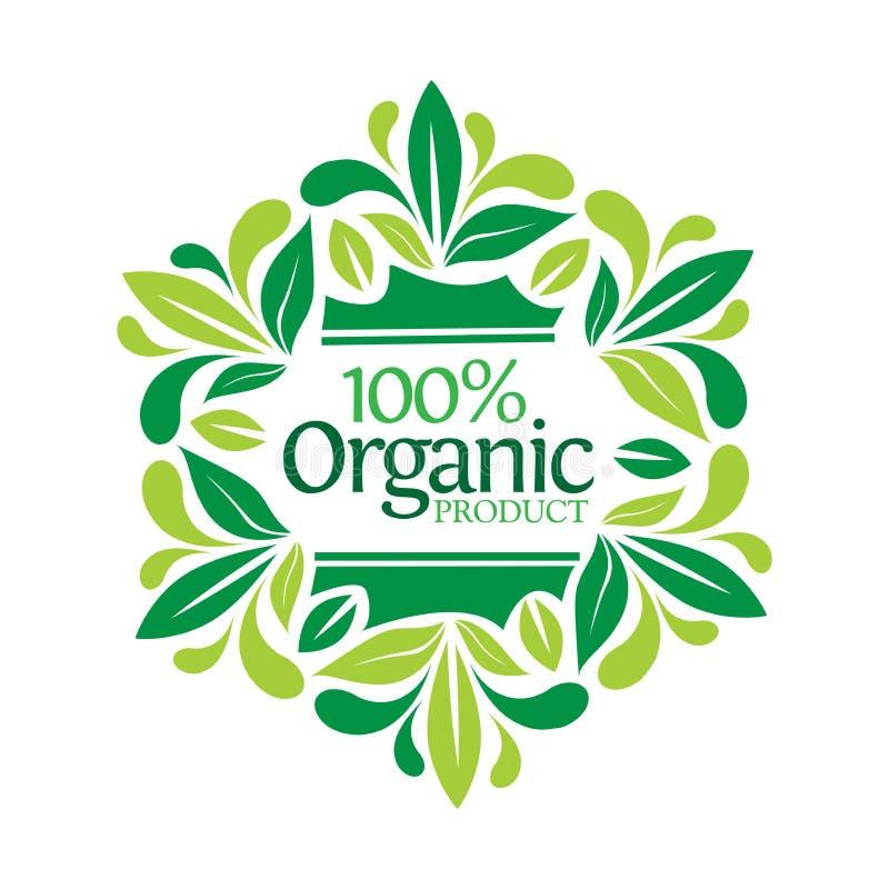 Van letters voorziend 100% biologisch product in bladkader royalty-vrije illustratie