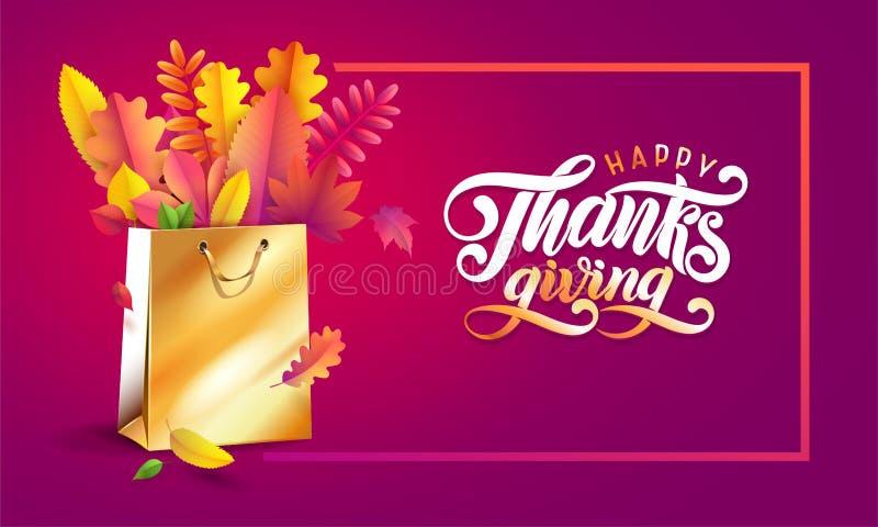 Van letters voorziend hand geschreven teksten Gelukkige Dankzegging Vector helder boeket van de herfst gevallen bladeren in goude royalty-vrije illustratie