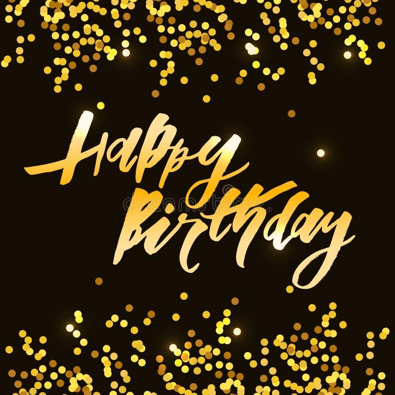 Van letters voorziend met uitdrukking Gelukkige Verjaardag Vector illustratie goud royalty-vrije illustratie