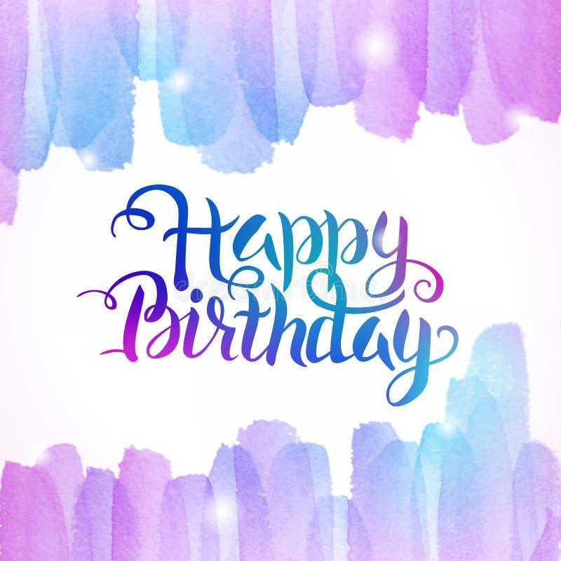 Van letters voorziende Achtergrond van de waterverf de Kleurrijke Gelukkige Verjaardag stock illustratie