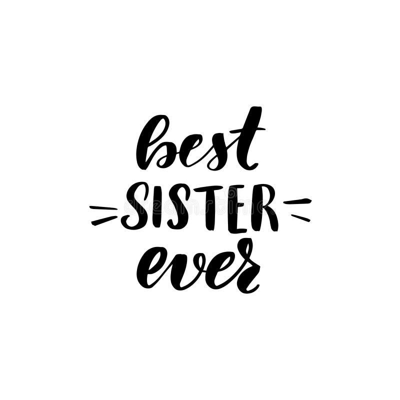 Van letters voorziende beste zuster ooit stock illustratie