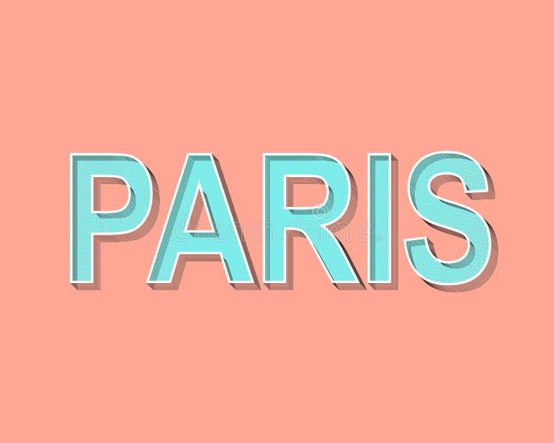 Van letters voorziende de Groetkaart van Parijs Modern Pop Art Typography Grunge stippelt gevolgen In zalmkleur met heldergroen royalty-vrije illustratie