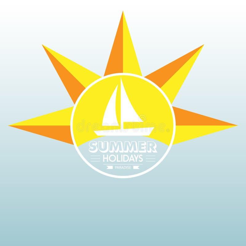 Van letters voorziende de typografieillustratie van het de zomeretiket op lichte achtergrond De uitstekende ontwerpelementen, emb royalty-vrije illustratie