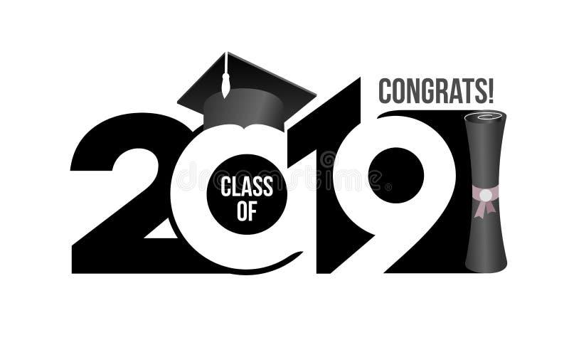 Van letters voorziende Klasse van 2019 voor groet, uitnodigingskaart Tekst voor graduatieontwerp, gelukwensgebeurtenis, T-shirt,  stock illustratie