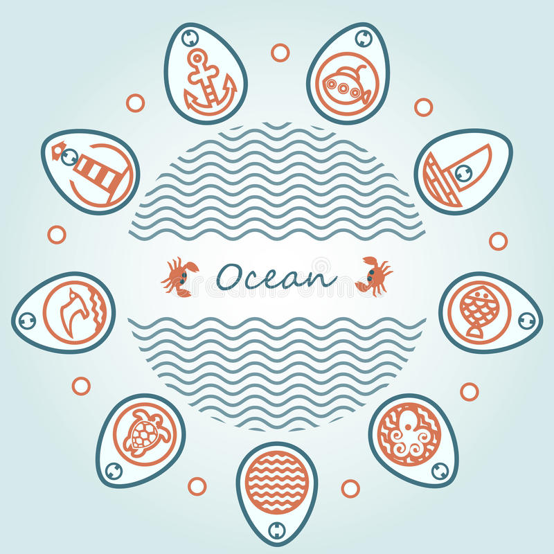 Van letters voorziende oceaan in cirkel stock foto's