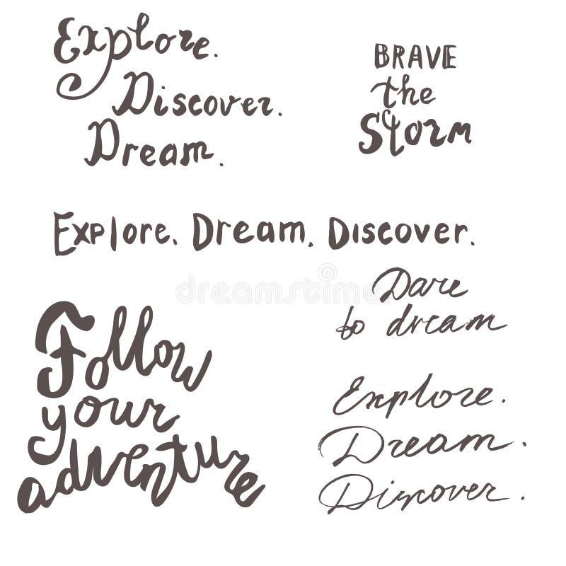 Van letters voorziende overzeese en motivatie geplaatste citaten Kalligrafieinspiratie royalty-vrije illustratie