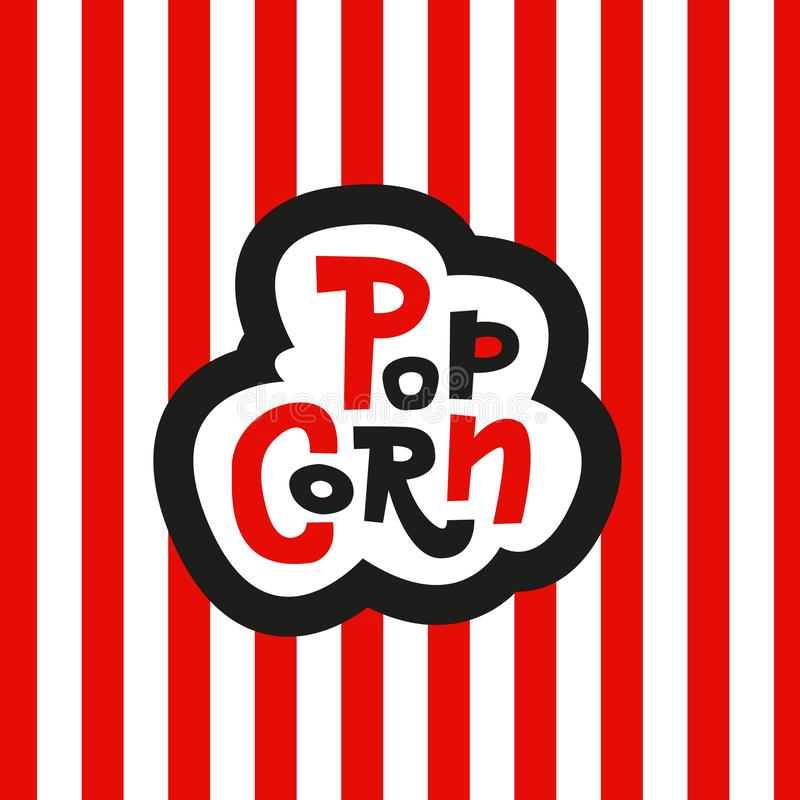 Van letters voorziende Stickerpopcorn op gestreepte rode en witte achtergrond Hand getrokken vectorteken stock illustratie