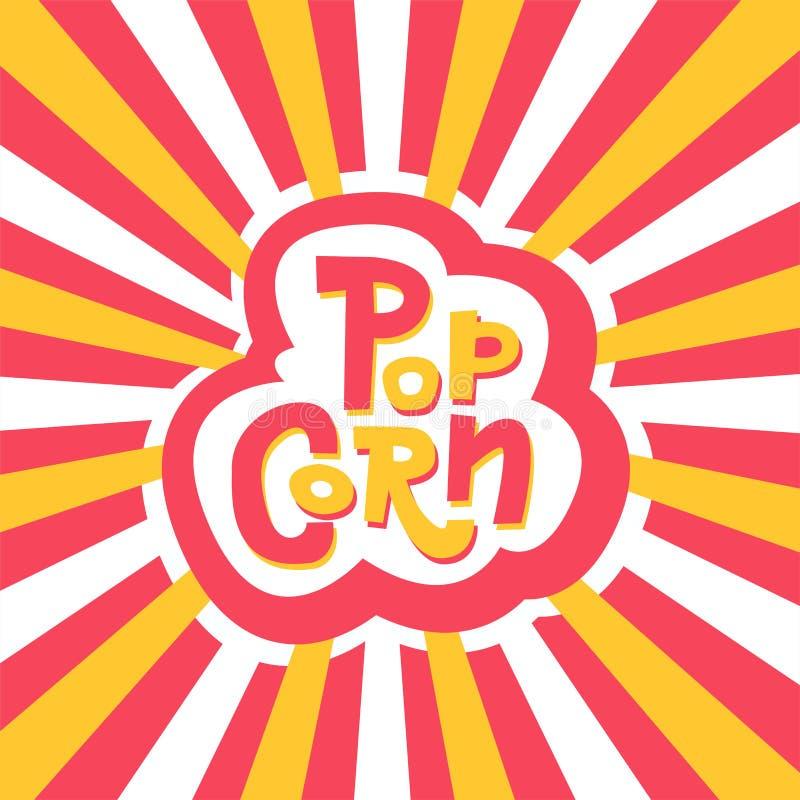 Van letters voorziende Stickerpopcorn op gestreepte stralen van de centrum rode, gele en witte achtergrond Hand getrokken vectort stock illustratie