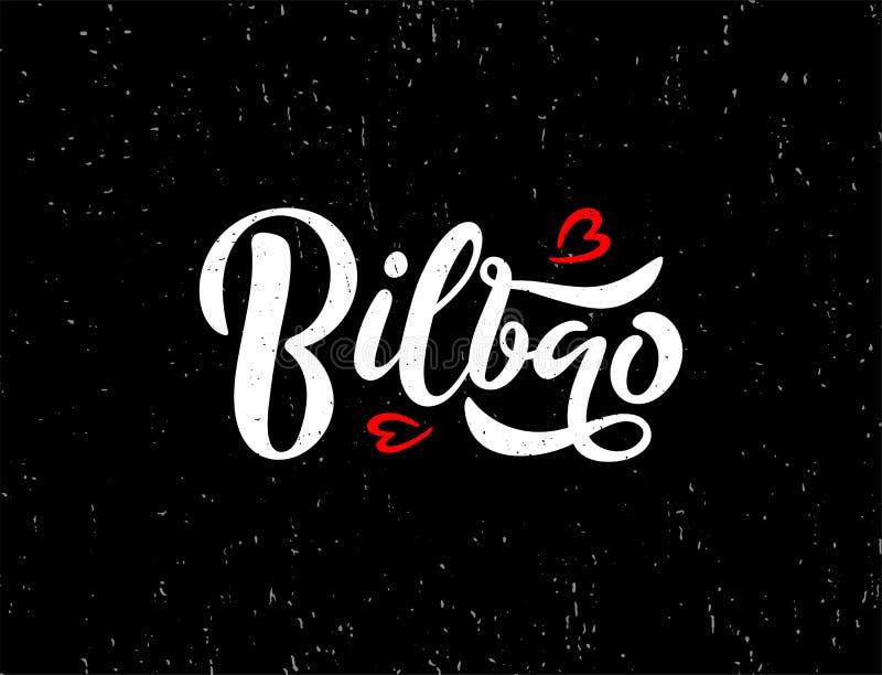 Van letters voorziende tekst van de Europese of stad Bilbao van Europa op zwarte achtergrond met textuur en rode harten stock illustratie