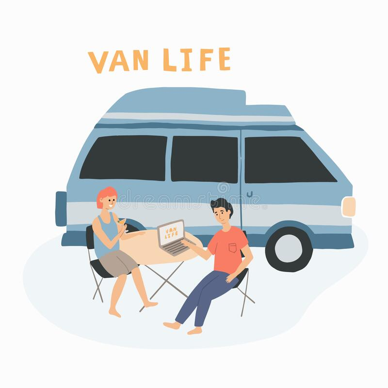 Couple sitting at the table near their campervan. Man and woman living in a van, enjoying their travel life. Hand drawn vector ill vector illustration
