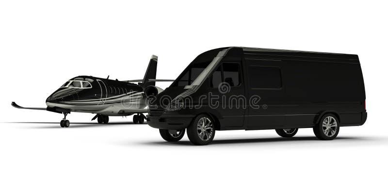 Van limousine avec le jet privé illustration libre de droits