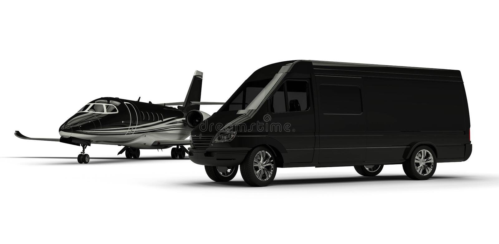 Van limousine with private jet royalty free illustration