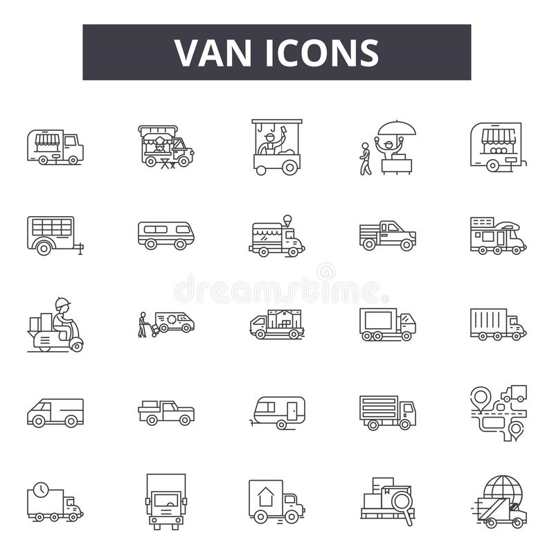 Van line icons, signs, vector set, linear concept, outline illustration royalty free illustration