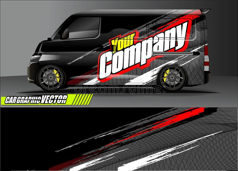 Van livery graphic vector. abstract grunge background design for vehicle vinyl wrap and car branding royalty free illustration